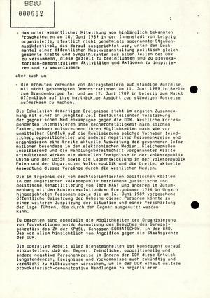 """Schreiben Mielkes an die Leiter der Diensteinheiten zur Unterbindung """"provokatorisch-demonstrativer Handlungen"""""""