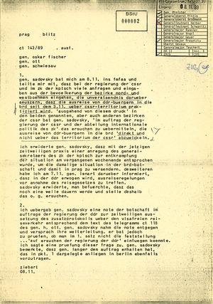 Fernschreiben von dem Prager DDR-Botschafter Helmut Ziebart an Außenminister Oskar Fischer