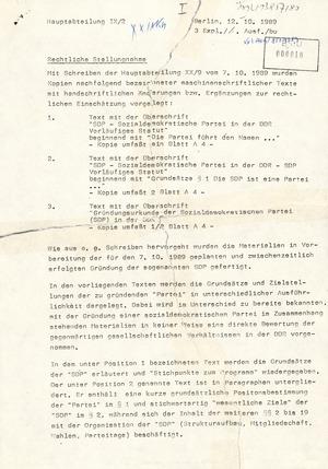 Rechtliche Stellungnahme zum Aufruf der Initiativgruppe SDP