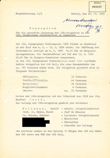 Konzeption für die operative Sicherung der DDR-Delegation zu den XII. Olympischen Winterspielen in Innsbruck