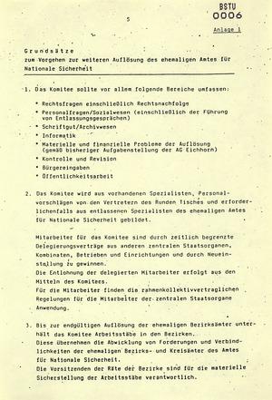 """""""Beschluss über weitere Maßnahmen zur Auflösung des ehemaligen Amtes für Nationale Sicherheit"""""""