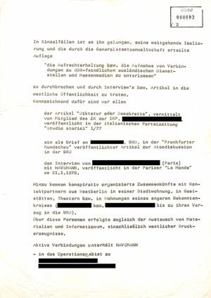 Plan zu Maßnahmen der Zersetzung, Verunsicherung und Isolierung von Robert Havemann