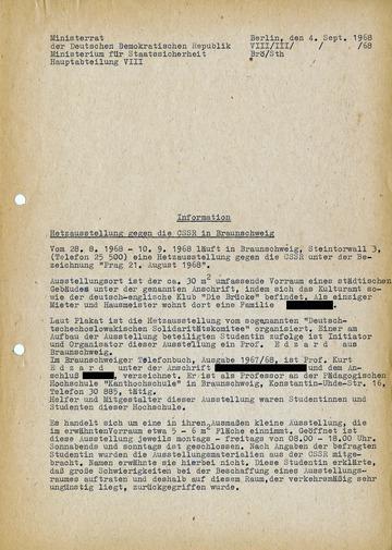 """Bericht über eine """"Hetzausstellung"""" zum Ende des Prager Frühlings"""