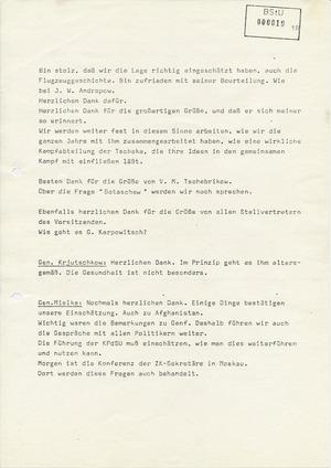 Notiz über ein Gespräch zwischen Erich Mielke und dem stellvertretenden KGB-Chef Krjutschkow