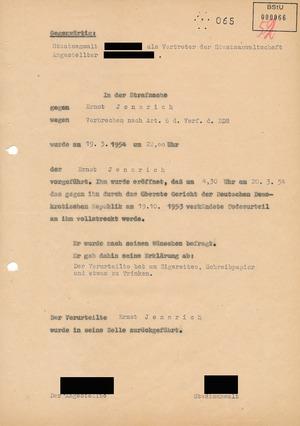 Vermerk über die Ankündigung der Urteilsvollstreckung gegen Ernst Jennrich
