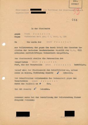 Dokumentation der Urteilsvollstreckung gegen Ernst Jennrich