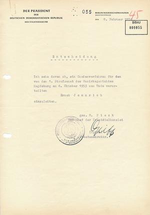 Ablehnung des Gnadengesuchs für Ernst Jennrich