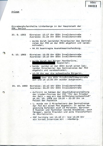 Informationen zu Aufenthalten Udo Lindenbergs in Ost-Berlin