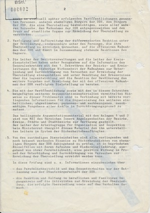 Anweisung zur Überprüfung von Rückkehrern in die DDR
