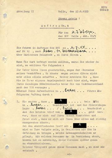 """Auftrag für den westdeutschen Geheimen Informator """"Günther"""" in Emden"""