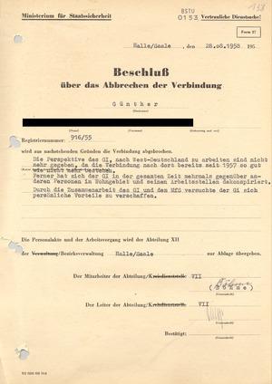"""Beschluss über das """"Abbrechen der Verbindung"""" zu einem westdeutschen Informanten"""