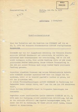 Bericht über die Reaktion Wolf Biermanns auf die Ablehnung eines Reiseantrages