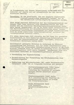 Fahndungsergebnisse und Sicherheitsvorkehrungen in der Bundesrepublik in Bezug auf die RAF