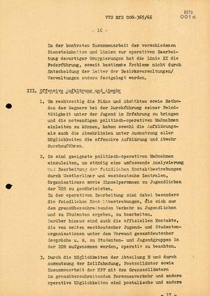 """Dienstanweisung Nr. 4/66 zur """"Bekämpfung politisch-ideologischer Diversion"""" unter Jugendlichen"""