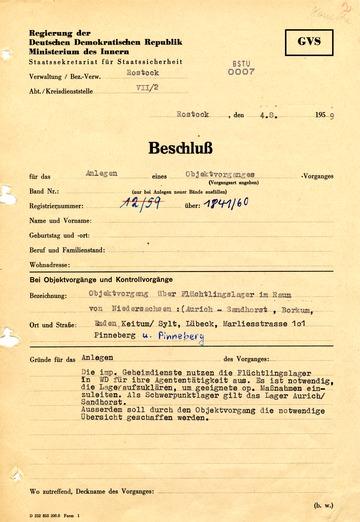 """Eröffnung eines """"Objektvorgangs"""" zur Beobachtung von Lagern für DDR-Flüchtlinge in der BRD"""