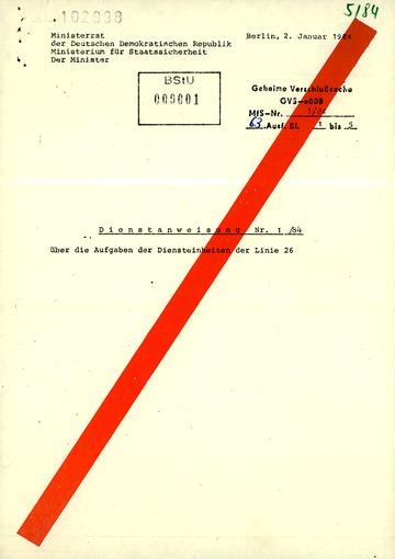 Dienstanweisung 1/84 über die Aufgaben der Linie 26