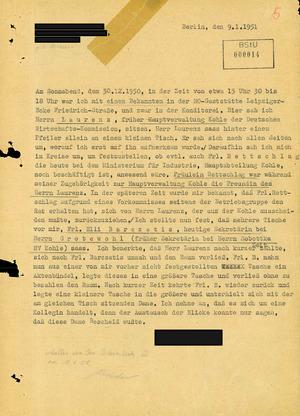 Erster Bericht über ein Treffen von Elli Barczatis und Karl Laurenz