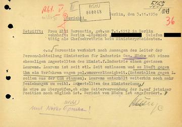Bericht über die Weiterbeschäftigung von Elli Barczatis beim Ministerpräsidenten der DDR