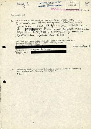 Fragebogen zur technischen Absicherung der DDR-Vertretung auf Zypern