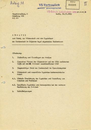 Analyse der HV A zur Abwehr feindlicher Geheimdienstarbeit in den Residenturen