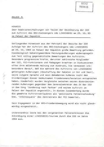 Reaktionen der DDR-Bevölkerung zum Auftritt von Udo Lindenberg in Ost-Berlin