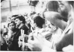 Kerzenprotest vor der amerikanischen Botschaft am 1. September 1983