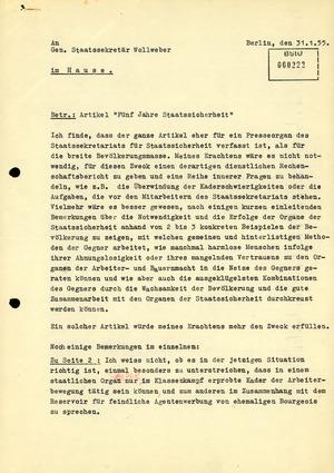 """Schreiben von Markus Wolf zum Artikel """"Fünf Jahre Staatssicherheit"""""""
