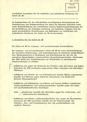 """""""(Vorläufige) Grundsätze für die inhaltliche und methodische Gestaltung der Arbeit mit IM"""""""