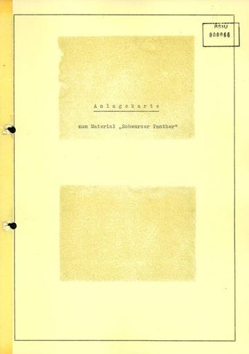 """Anlagekarte mit Bildern zum Arbeitsvorgang """"Schwarzer Panther"""""""