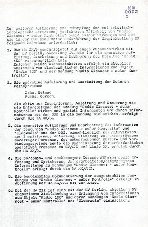 Maßnahmeplan zur politisch-operativen Bearbeitung von Radio Glasnost