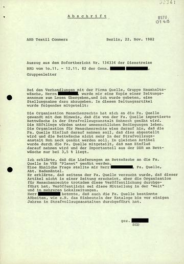 Abschrift eines Berichts des AHB Textil Commerz