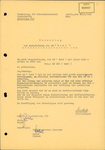 """Vorschlag zur Auszeichnung"""" des GM """"Otto Bohl"""" alias Karl-Heinz Kurras mit einer Geldprämie"""