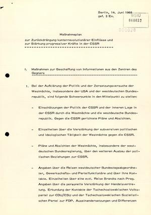 Maßnahmeplan zum Umgang mit dem Prager Frühling