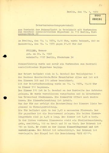 Tatortuntersuchungsprotokoll zum Diebstahl von geheimen Unterlagen durch Werner Stiller