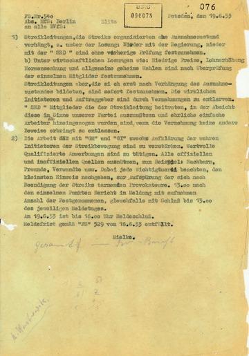 Befehl von Erich Mielke zu den Kriterien für die Verhaftung von Aufständischen des 17. Juni 1953
