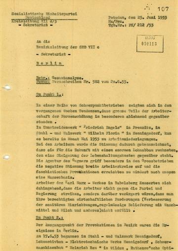 Analyse der Ereignisse des Volksaufstandes vom 17. Juni 1953 im Bezirk Potsdam