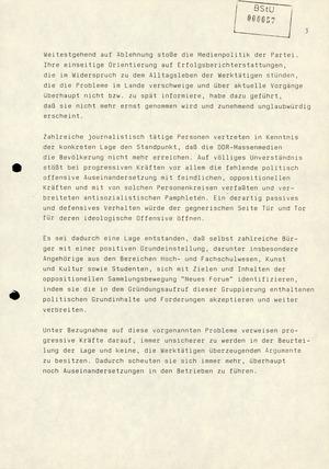 Hinweise auf Reaktionen progressiver Kräfte zur innenpolitischen Lage in der DDR