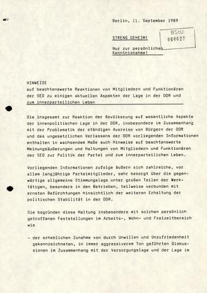 Hinweise auf Reaktionen von SED-Mitgliedern und Funktionären auf die Lage in der DDR