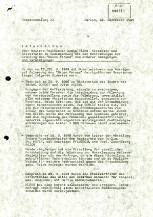 """""""Information"""" zu Gründung und Vorhaben des Neuen Forums"""