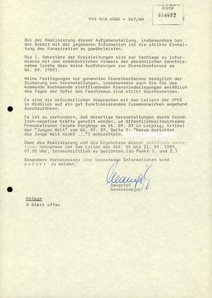 Schreiben des Leiters der Bezirksverwaltung Gera zum Offenen Brief der Evangelischen Kirche an Honecker