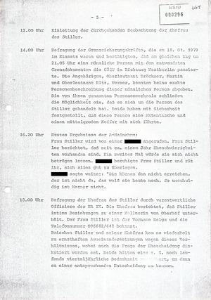 Sachstandsbericht über die Ereignisse nach der Flucht Werner Stillers