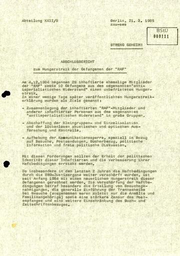 Abschlussbericht zum Hungerstreik der RAF-Gefangenen