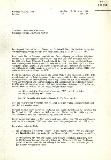 """Protokoll über eine Besichtigung des Dienstobjektes """"Walli"""" bei Wartin im Oktober 1989"""