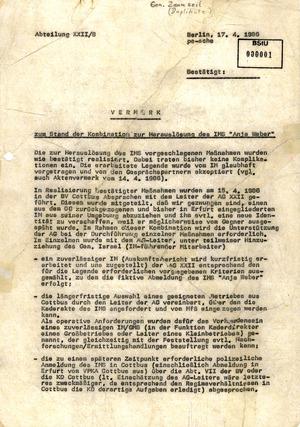Umsiedlung der RAF-Terroristin Silke Maier-Witt durch das MfS