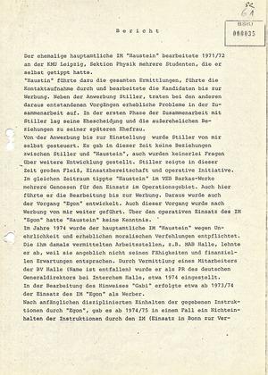 Veranschaulichung des Weges Werner Stillers zum MfS