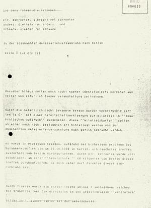 """Information über Pläne zur Formierung einer inneren Opposition """"Demokratischer Aufbruch"""""""
