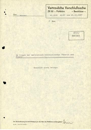 """Beschlussmitteilung des SED-Politbüros """"Zu Fragen der marxistisch-leninistischen Theorie und Praxis"""""""