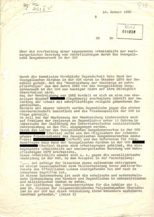 Bericht über seelsorgerische Beratung von Wehrpflichtigen durch das Evangelische Jungmännerwerk