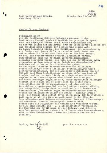 """Bericht von IM """"Hermann"""" über die Stimmung in der BRD während der Schleyer-Entführung"""