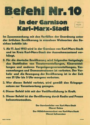 Befehl zur Verhängung des Ausnahmezustands im Bezirk Karl-Marx-Stadt